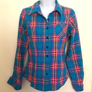 Hot colored plaid flannel type button up
